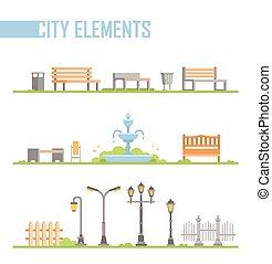 ville, ensemble, -, moderne, parc, isolé, illustration, vecteur, dessin animé, éléments