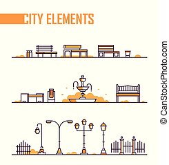 ville, ensemble, objets, -, moderne, parc, isolé, vecteur, éléments
