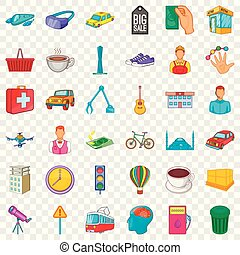 ville, ensemble, style, dessin animé, icônes