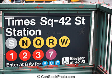 ville, entrée, carrée, temps, métro, new york