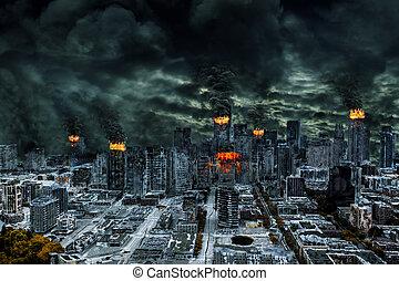 ville, espace, cinematic, détruit, représentation, copie