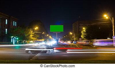 ville, exposure., lapse., écran, long, arrière-plan vert, temps, panneau affichage, trafic