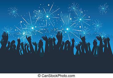 ville, fête, nouvel an