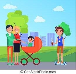 ville, famille, parc, vecteur, étudiant, landau