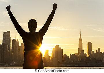 ville, femme, réussi, horizon, york, nouveau, levers de soleil