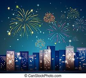 ville, feux artifice, scène, nuit
