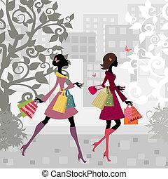 ville, filles, marche, achats, autour de