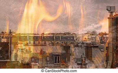ville, flammes