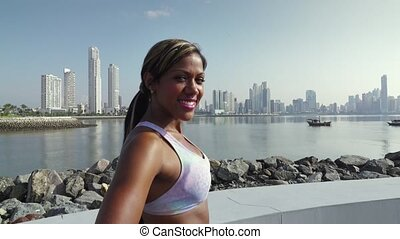 ville, formation, femme, sports, 3, portrait, matin