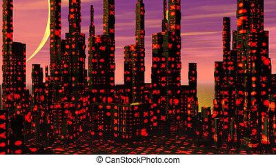 ville, -, futuriste, render, 3d