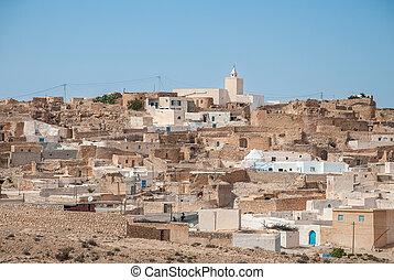 ville, grès, vieux, désert