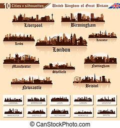 ville, grand, 10, set., grande-bretagne, horizon, #1, villes