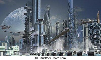 ville, gratte-ciel, futuriste