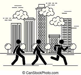 ville, groupe, gens