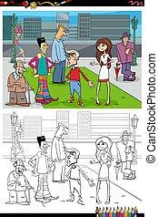 ville, groupe, livre coloration, dessin animé, gens, page