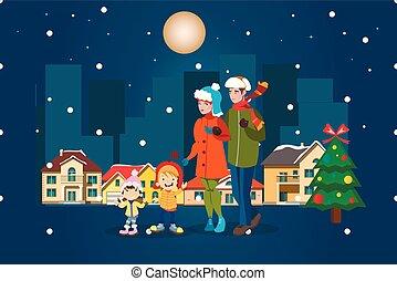 ville, hiver, famille, paysage., joyeux, noël.
