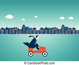 ville, homme affaires, conduite, voiture
