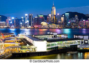 ville, hong kong, nuit