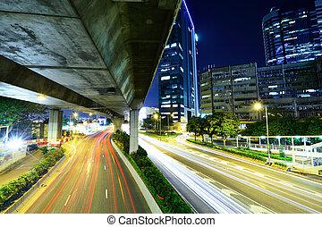 ville, hong, lumière, kong, piste, route