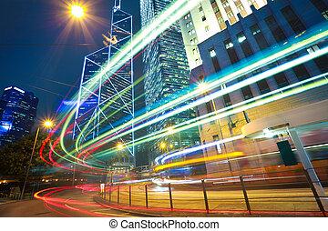 ville, hong, lumière, moderne, arrière-plans, bâtiments, kong, pistes, repère, route