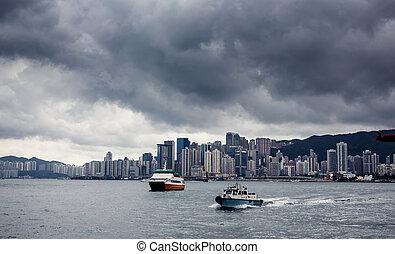 ville, hong, yacht, bâtiments, kong