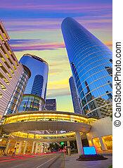 ville houston, coucher soleil, gratte-ciel, texas