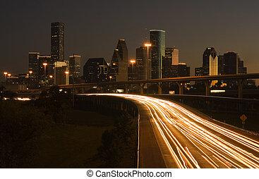ville houston, derrière, autoroute