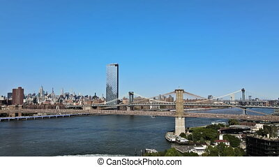 ville, hudson, aérien, brooklyn, nouveau, rivière, york, liez affichage, sur