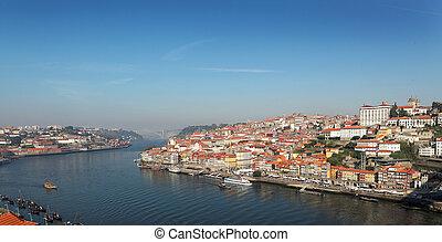 ville, image, douro's, nom, porto, non, portugal, tôt, (ads), brumeux, rivière, morning., vue