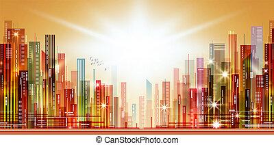 ville, incandescent, fond, nuit, lumières