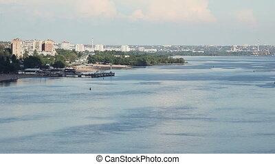 ville, industriel, ukraine, river., zaporozhye., vue