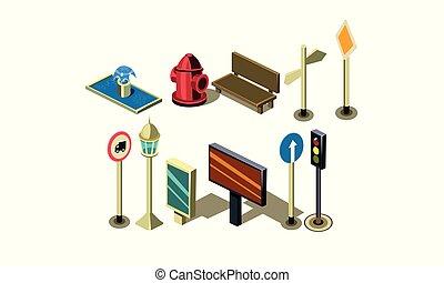 ville, isométrique, ensemble, elements., bouche incendie, lumières, fontaine, vecteur, banc, panneau affichage, signes, trafic, route, lanterne