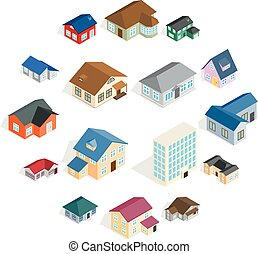 ville, isométrique, ensemble, maison, style, petite maison, 3d