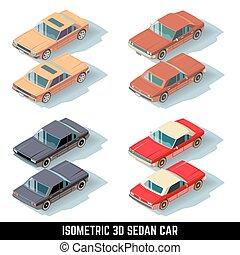 ville, isométrique, icônes, vecteur, voiture, sedan, transport, 3d