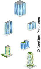 ville, isométrique, immeubles, meute