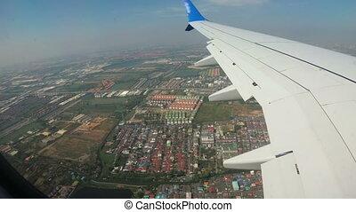 ville, jet, bangkok, fenêtre, avion, paysage, vue