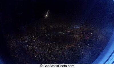 ville, jet, sur, voler, fenêtre, bas, nuit, avion, vue