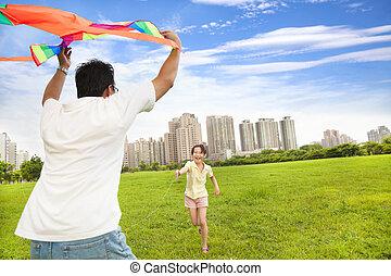 ville, jouer, famille, heureux, coloré, parc, cerf volant