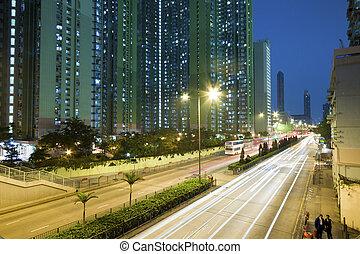 ville, long, trafic, route, nuit