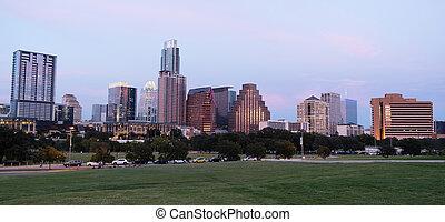 ville, métro, crépuscule, parc, en ville, horizon, nuit, maître d'hôtel, austin, raisons