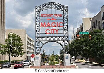 ville, magie, birmingham, signe