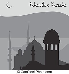 ville, magie, istanbul, turc, illustration, animation, noir, white., ramadan.