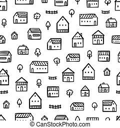ville, maisons, griffonnage, modèle
