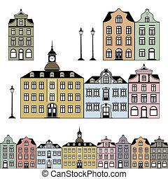 ville, maisons, vecteur, vieux, illustration
