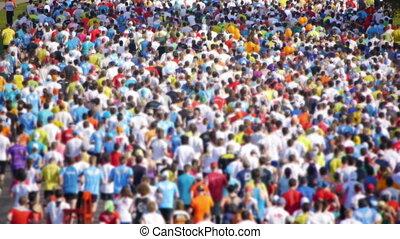 ville, marathon., foule, gens, -, hd