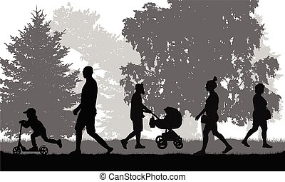 ville, marche, gens, silhouettes, vecteur, park.