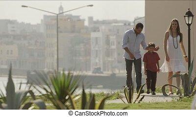 ville, marche, parc, famille, heureux