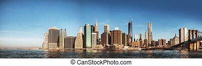 ville, matin, york, nouveau, panorama
