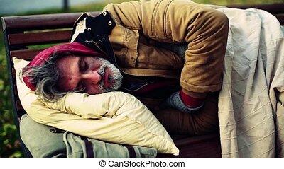 ville, mendiant, banc, sleeping., sdf, dehors, oreiller, mensonge, homme