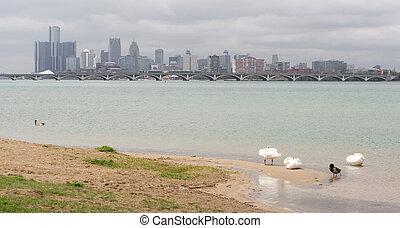 ville, michigan, détroit, en ville, panoramique, horizon, long, rivière